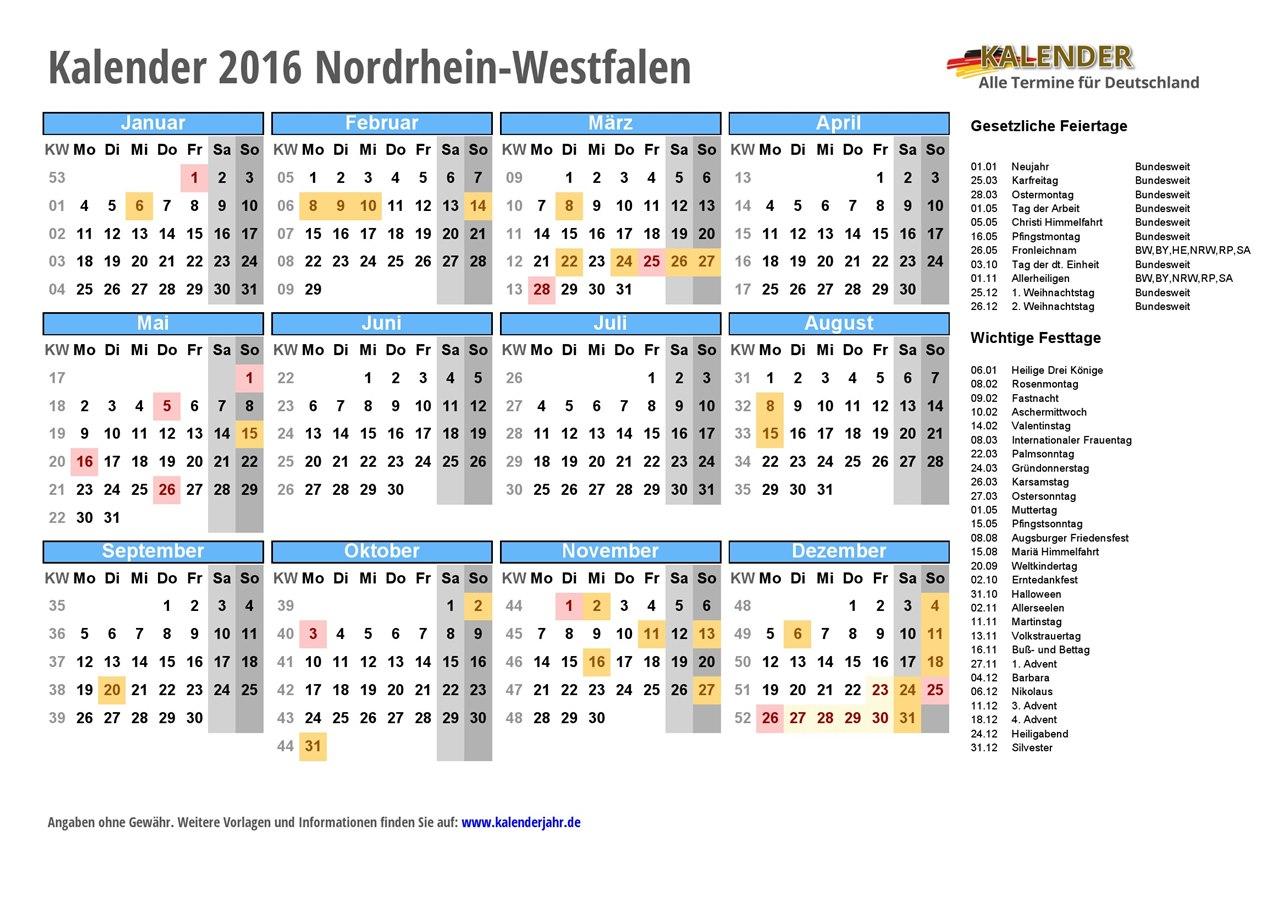 2016 nrw kostenlos kalender Kalender 2016