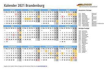 Kalender 2021Brandenburg